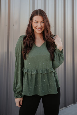 *NEW* Angelina Olive Peplum Ruffle Top
