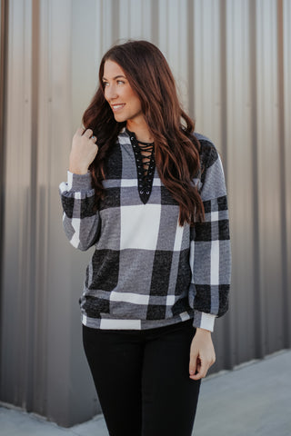 {Last Chance} Adaline Buffalo Plaid Hoodie **FINAL SALE**