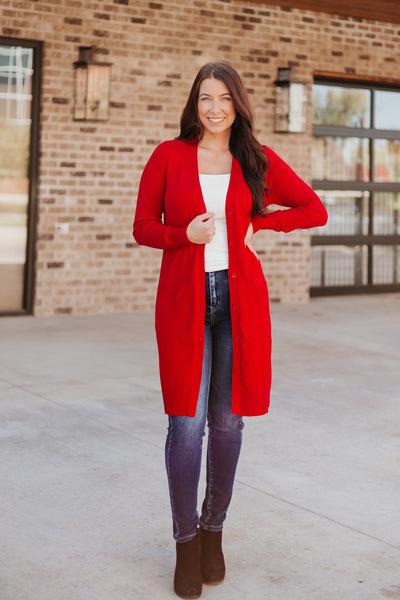Eliza Long Knit Button Cardigan with Pockets