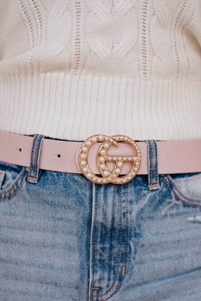 *NEW* Pearly Girl Vegan Leather Belt ~ Blush