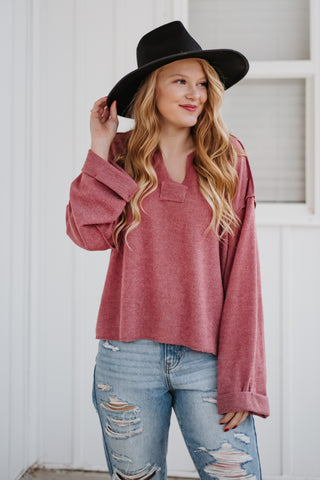 *NEW* Yorklynn Knit Mauve Top
