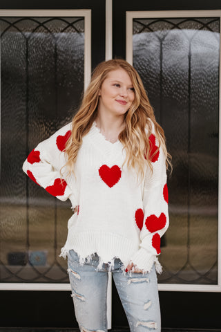 *NEW* Sadie Heart Distressed Sweater