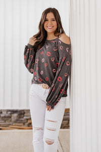 *NEW* Quinn Cold Shoulder Lips Top