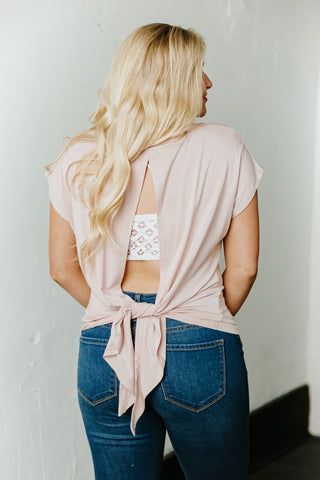 *NEW* Raven Self Tie Open Back Basic Tee ~ Rose