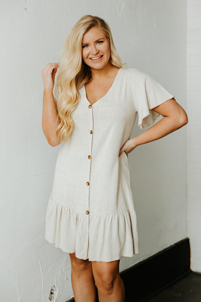 *NEW* Mika Button Front Short Sleeve Dress ~ Natural