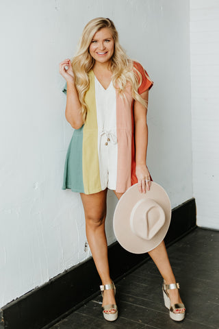 *NEW* Sabrina V Neck Stripe Romper ~ Sea Green Combo