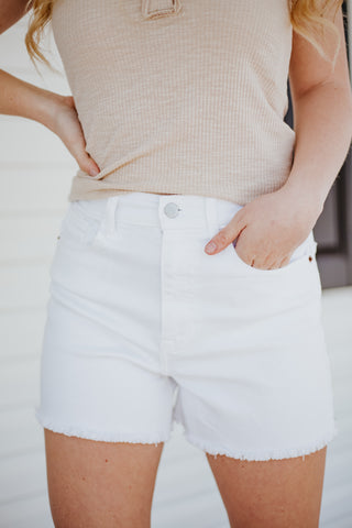 Cello Greta High Rise Mom Shorts ~ White