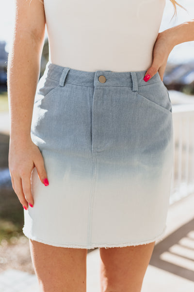 *NEW* Chandra Ombre Light Blue Skirt