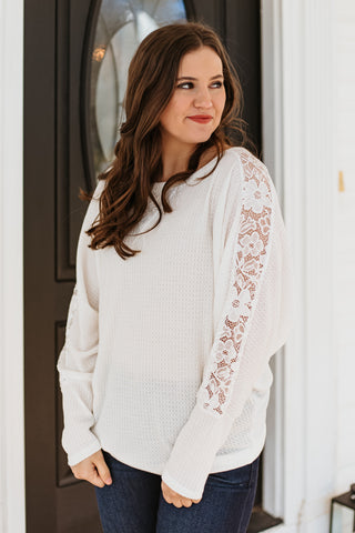 *NEW* Payton Waffle Knit Lace Sleeve Top