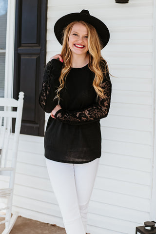 *NEW* Tori Waffle Knit Lace Sleeve Top