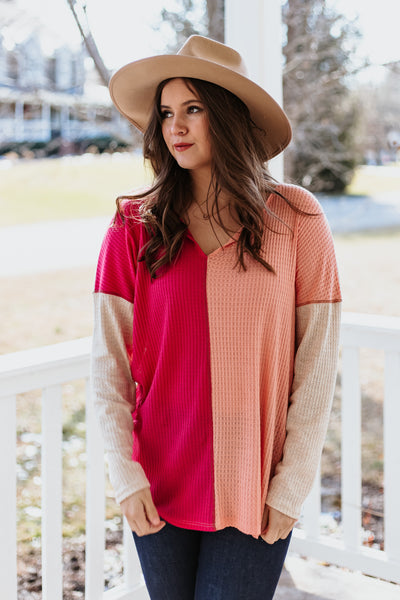 *NEW* Jade Waffle Knit Color Block Top
