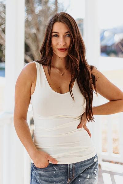 *NEW* Cathy Basic Reversible Seamless Tank ~ Ivory