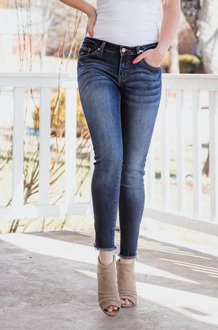 Kancan June Mid Rise Ankle Skinny ~ Dark Wash