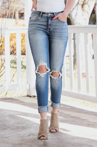 Kancan Morgan Mid Rise Distressed Skinny Jeans