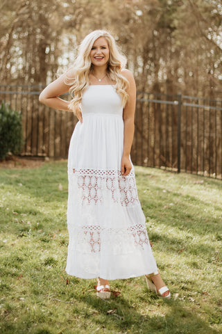 *NEW* Savanna Sleeveless Smock & Lace Maxi Dress ~ Off White