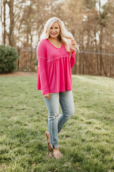 {Last Chance} Bright & Pink V Neck Top ~ Pink *FINAL SALE*