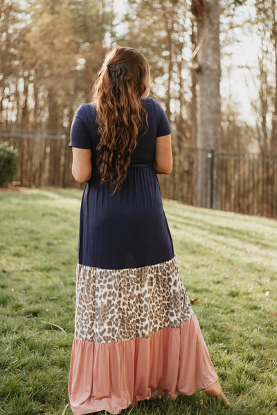 {Last Chance} Becky Leopard Color Block Maxi Dress ~ Navy *FINAL SALE*