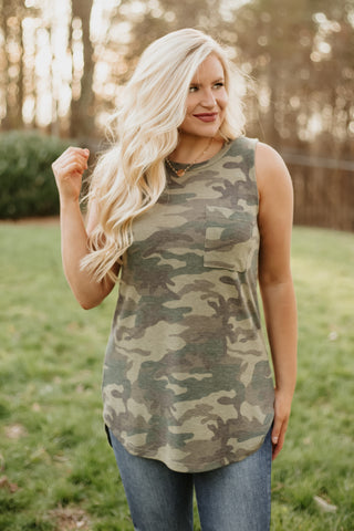 *NEW* Zahra Camo Print Sleeveless Hi - Lo Tank ~ Army Green