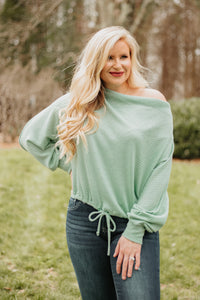 *NEW* Saige Drawstring Long Sleeve Top ~ Mint
