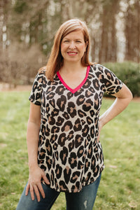 *NEW* Lonnie Leopard V Neck Top ~ Fuchsia