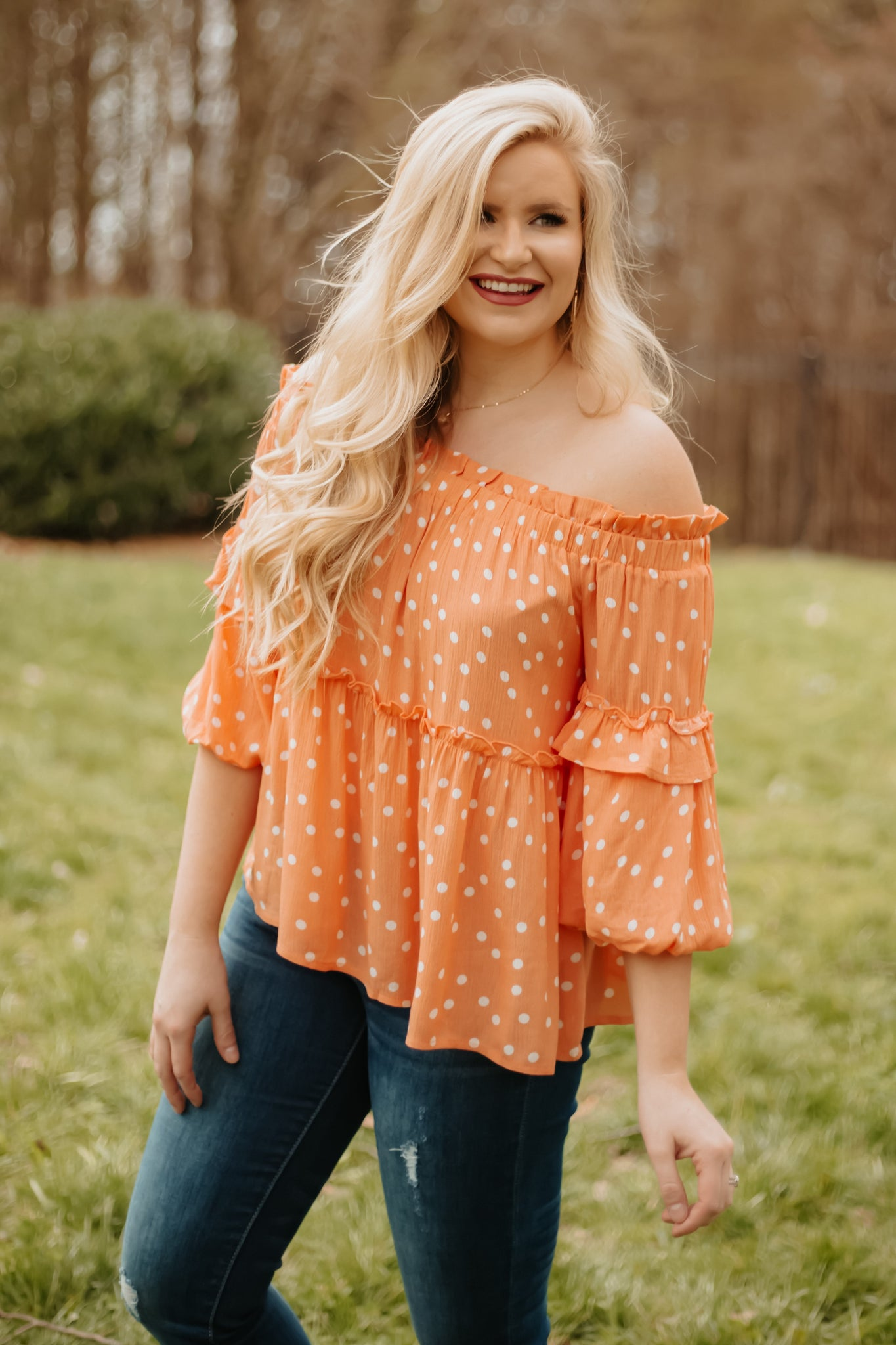 *NEW* Tandy Off Shoulder Top ~ Cantaloupe