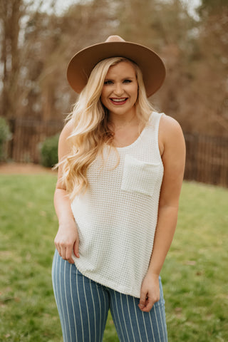 *NEW* Angie Scoop Neck Waffle Knit Top w/ Pocket ~ Ivory
