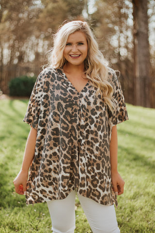 *NEW* Elora V Neck Animal Print Top ~ Brown