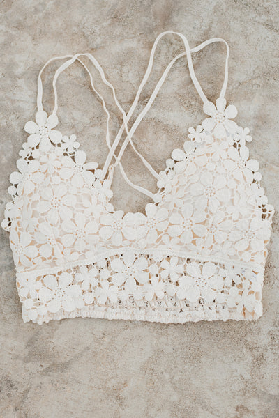All Day Dream Crochet Lace Bralette ~ Cream