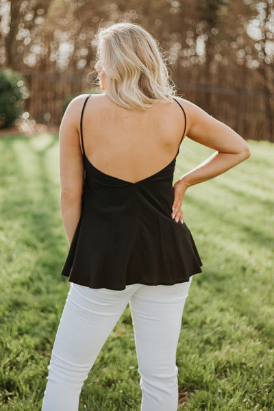 {Last Chance} Astrid Double V Neck Cami Top ~ Black *FINAL SALE*