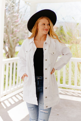 Karlee Distressed Oversized Denim Jacket ~ White