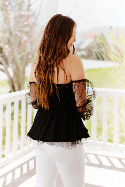 Krystal Peplum Off Shoulder Swiss Dot Sleeve Top