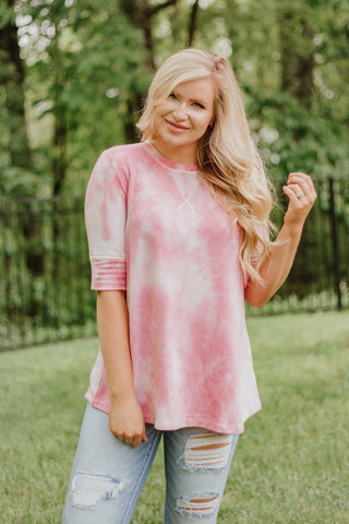 *NEW* Kenna Round Neck Short Sleeve Tie Dye Top ~ Pink