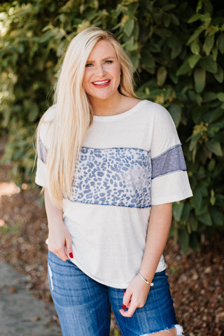 Cheyenne Animal Print Color Block Top