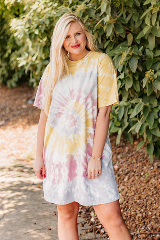Erika Tie Dye T-shirt Dress with Pockets