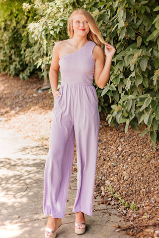 Brenda One Shoulder Smocked Jumpsuit