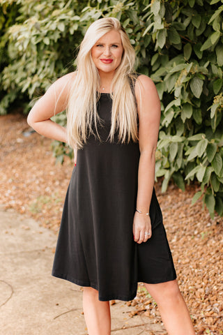 Tina Sleeveless Midi Swing Dress ~ Black