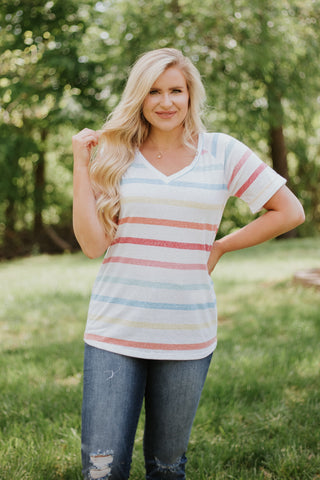 *NEW* Madelyn Stripe V Neck Top