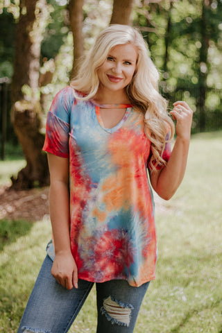 *NEW* Tara V Neck Tie Dye Top
