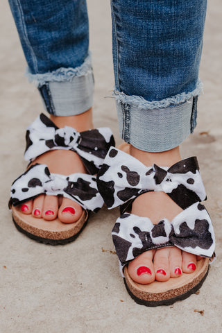 *NEW* Cow Print Boardwalk Bow Tie Slide Sandals