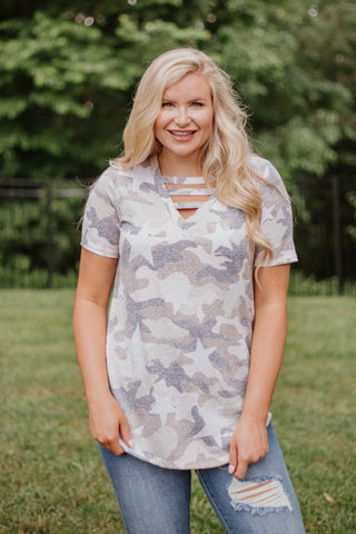 *NEW* Elena Vintage Camo Star Print V Neck Top