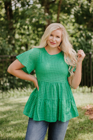 *NEW* Gabby Eyelet Peplum Top