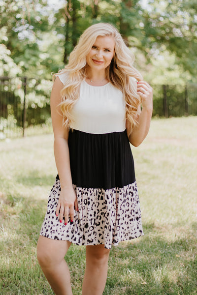 Kendyl Color Block Leopard Dress
