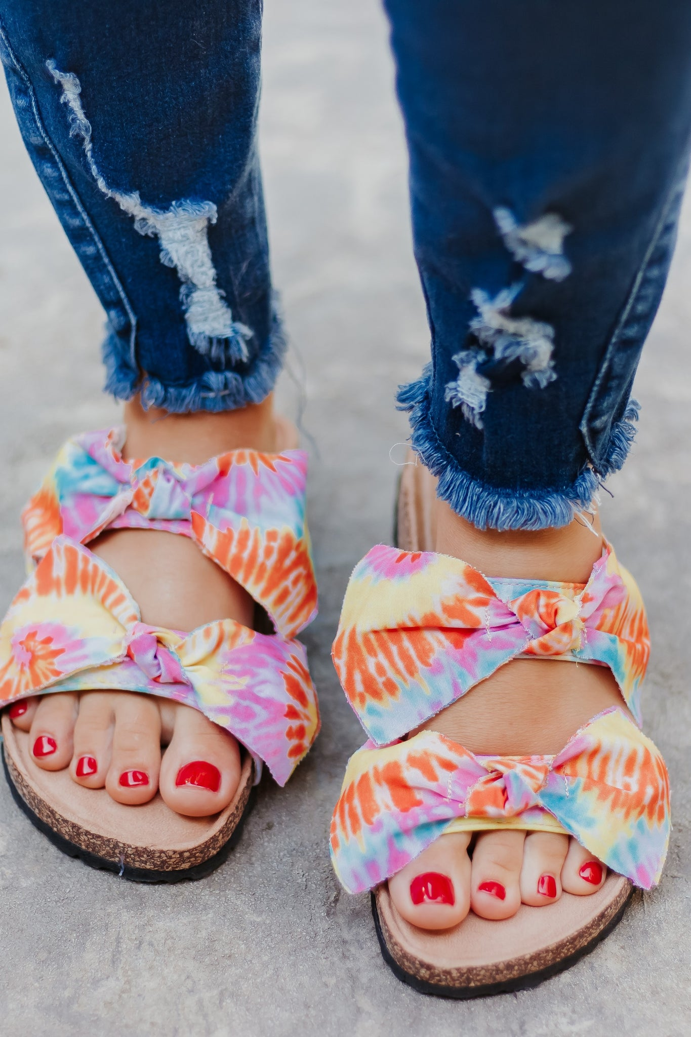 Tie Dye Boardwalk Bow Tie Slide Sandals