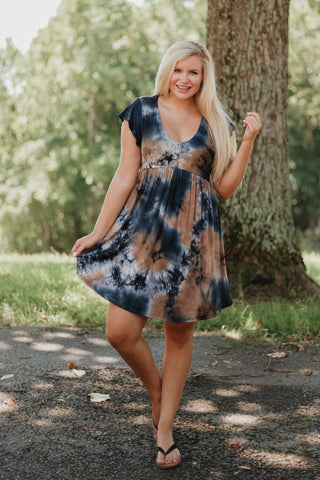 *NEW* Take Me Out Short Sleeve Tie Dye V Neck Dress
