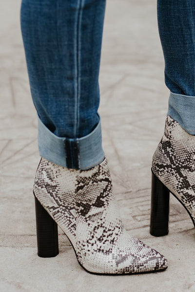 {Last Chance} Snake Print Booties ~ Black &  Stone **FINAL SALE**
