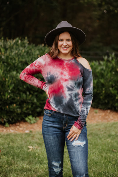 {Last Chance} Bridget Tie Dye Cold Shoulder Top **FINAL SALE**