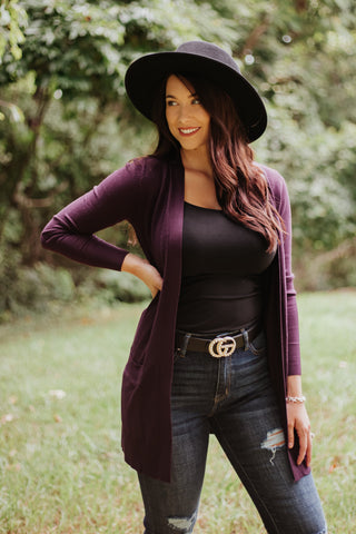 *New* Elsie Everyday Long Knit Cardigan with Pockets ~ Dk Purple
