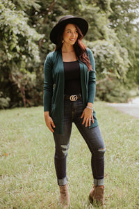 Elsie Everyday Long Knit Cardigan with Pockets ~ Teal