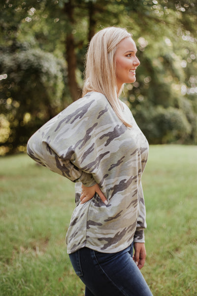 Mikayla Camo Off Shoulder Top