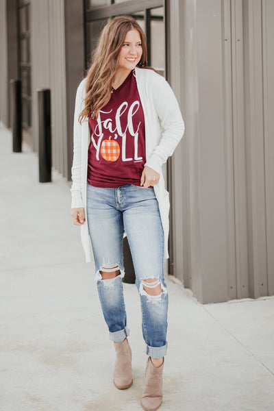 *New* Fall Y'all Graphic Tee ~ Burgundy